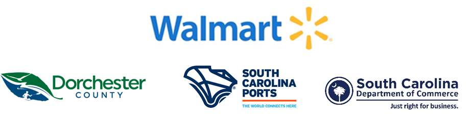 Walmart announcement logo with Dorchester County, SC Ports and SC Commerce